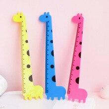 Kawaii Giraffe Straight Ruler Plastic Tool Set Stationery Cartoon Drawing Gift Korean Office School Percision Measuring Tools