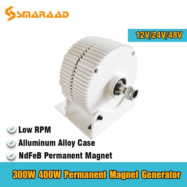 Generator 300W 400W 500W 600W 12V 24V 48V 3 Phase Gearless Permanent Magnet AC Alternators For Wind Water Turbine Diesel Engine 2