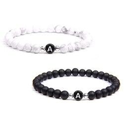 Black White Stone DIY id 26 Letters Bracelet for Women Men couple Jewelry Name Friendship Lucky Bead Bracelet Kids Family Gift