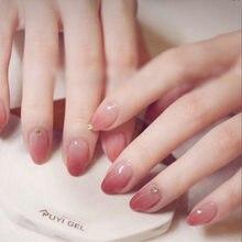24 stück Falsche Nagel Voll Deckung Gefälschte Nagel Kristall Elegante Rosa Gradienten Französisch Kurze Nägel Ellipse Form Kurze Gefälschte Nagel