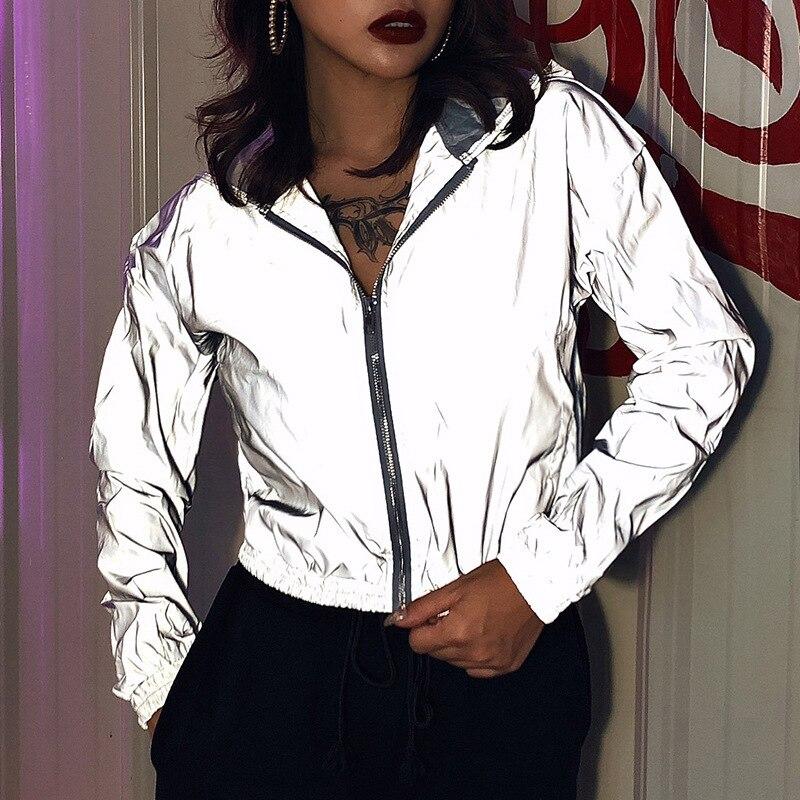 Chaqueta de gran tamaño para mujer, chaqueta reflectante con capucha y cremallera, traje de manga larga, abrigo de moda desenfadada de Color sólido para Otoño e Invierno|chaquetas básicas| - AliExpress