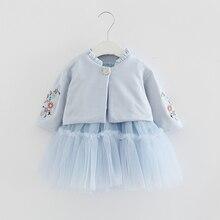 Crianças Conjuntos de Roupas de Outono Crianças de Manga Longa Casaco + vestido de Baile Vestido de Flores Bordado 2 PCS/Ternos de Roupas Meninas queda 0 2Y