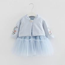 Ubrania dla dzieci jesień zestawy dla dzieci z długim rękawem kwiaty haft płaszcz + suknia balowa sukienka 2 sztuk/garnitury dziewczyny odzież jesień 0 2Y