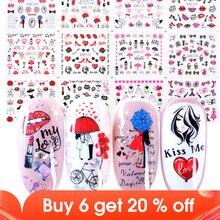 12 шт., романтические наклейки на День святого Валентина, Слайдеры для дизайна ногтей, украшения, наклейки, сексуальные губы, цветок, сердце, тату, обертывания, JIBN1069 1080
