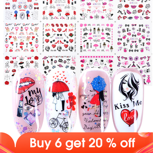 Image 1 - 12pcs Romantic Valentines Water Decals Sliders Nail Art Decorations Stickers Sexy Lips Flower Heart Tattoo Wraps JIBN1069 1080