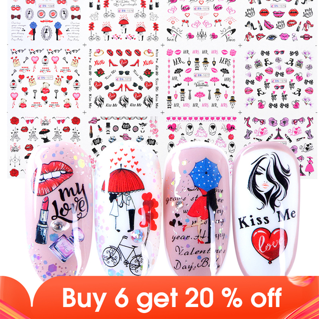 12pcs Romantic Valentines Water Decals Sliders Nail Art Decorations Stickers Sexy Lips Flower Heart Tattoo Wraps JIBN1069 1080