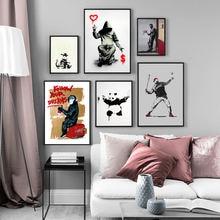 Современная Абстрактная забавная обезьяна панда эскизный постер