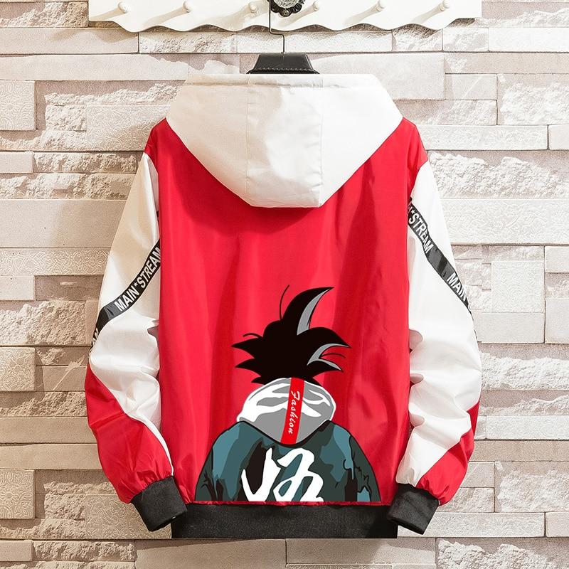 LES KOMAN Dragon Ball Printing Spring Autumn New Men Jacket  Casul Streetwear Hooded Hip Hop Splice  Coats Outwear S-5XL