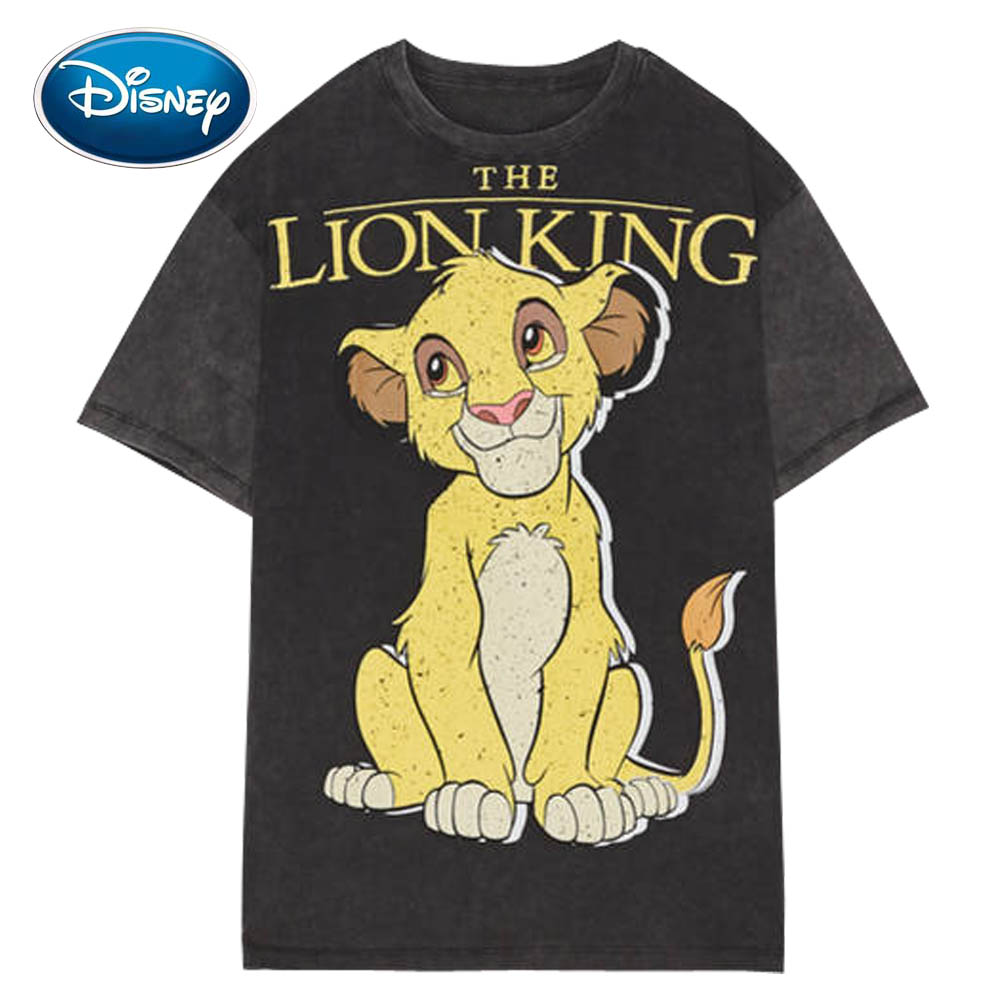 Disney Stylish The Lion King King Of The Jungle Cartoon Print T-Shirt Casual Fashion Women O-Neck Pullover Short Sleeve Tee Tops