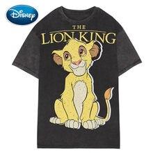 T-Shirt décontracté imprimé Roi Lion pour les femmes, personnage de dessin animé Disney, manches courtes, col rond, article tendance