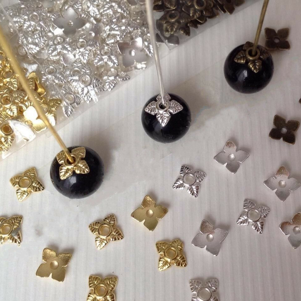 100pcs Retro Flower Metal Bead End Caps For Jewelry Making Gold Silver Tone Beads Caps Jewelry DIY Accessories