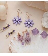 2020 Korean version of the small fresh summer purple earrings simple flowers geometric acrylic wild girl ins wind earrings