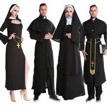 Средневековый Косплэй костюмы на Хэллоуин для Для женщин Priest монахини Миссионерский костюм комплект взрослых Карнавальная одежда женские модельные туфли