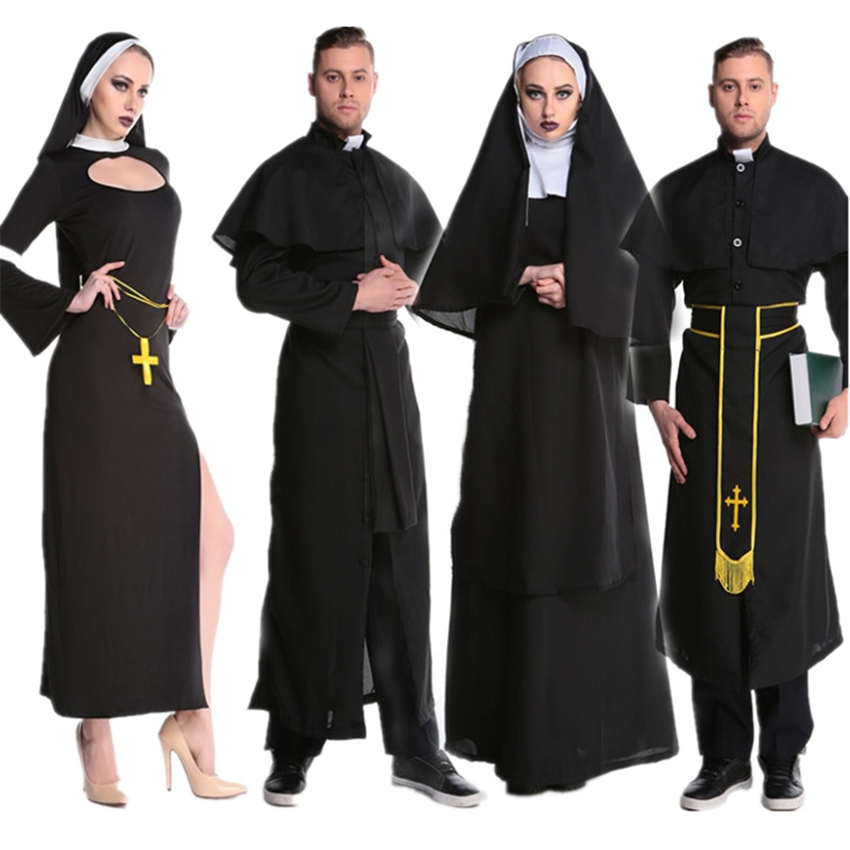 Medieval Cosplay Halloween Costumes For Women Priest Nun Missionary Costume Set 2020 Adult Cosplay Clothing Woman Dress