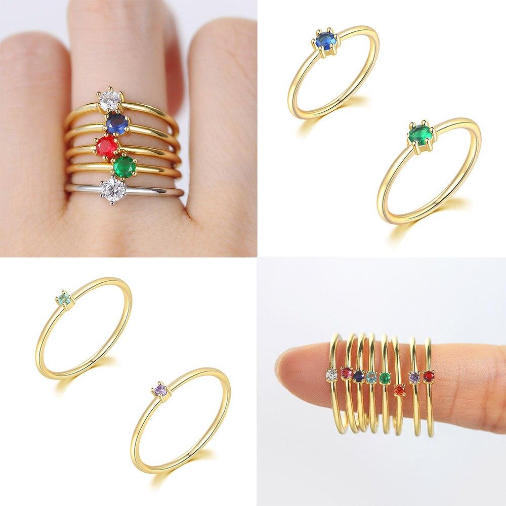 Anillos finos de circonia de 2mm y 3,5mm para mujer, tendencia 2021, Color dorado, boda, anillo de dedo de compromiso, joyería de novia R246 R112