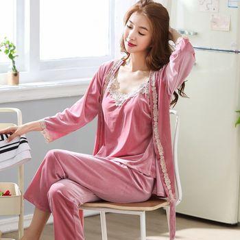 Autumn Winter 3 PCS Women Pajamas Set Satin Female Sexy Sleep Lounge Pijama Sleepwear Night Home Clothing Pajama Suit