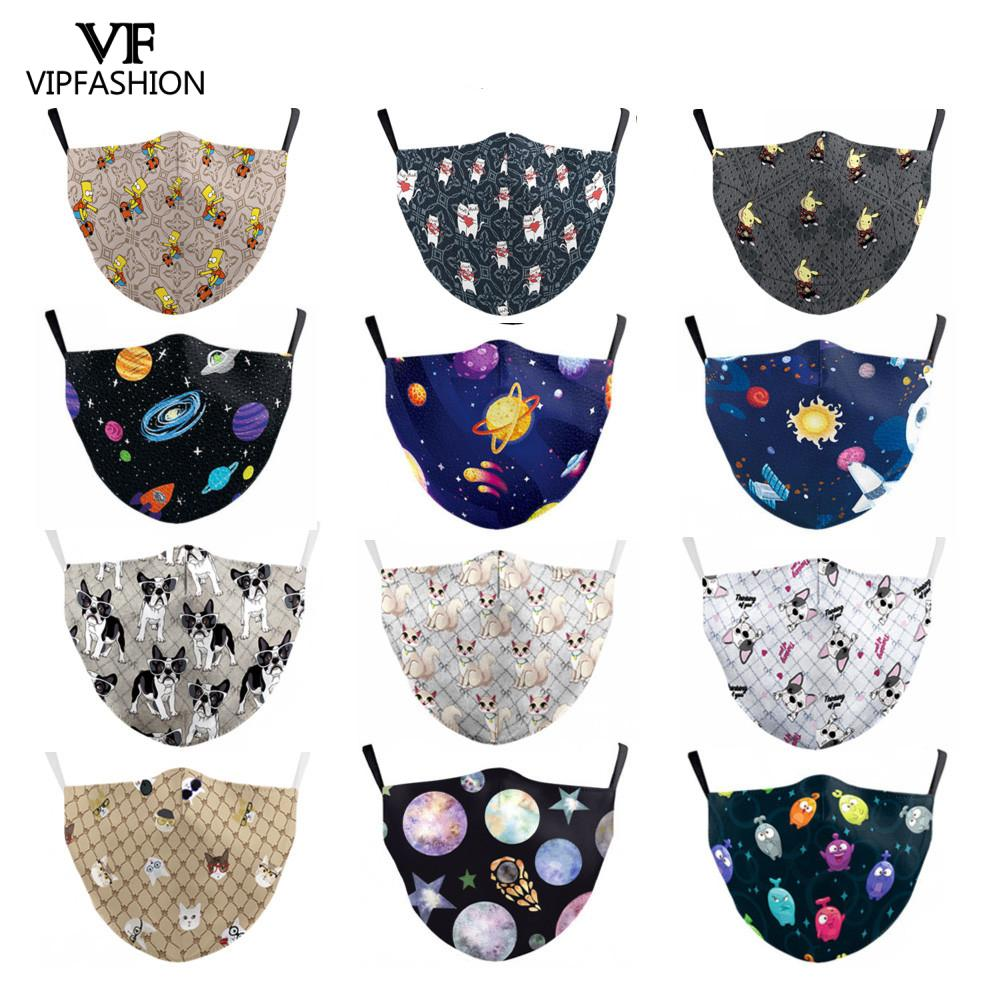 VIPFASHION Reusable PM2.5 Adult Cartoon Anime Mouth Mask Print Washable Fabric Face Mask Anti Dust Proof Bacteria Pollution Mask