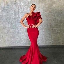 Evening-Dresses Elie Saab Mermaid Party Formal Red Fashion Flower Prom-Wear Runway Ruffles