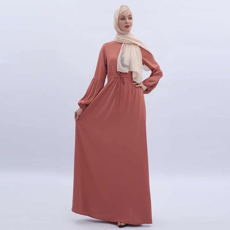 Muslim Chiffon Maxi Dress Long Lantern Sleeve Plus Size Abaya Long Solid  Color Lace Up Robes Tunic Middle East Ramadan Arab Islamic Fashion Clothing  ...