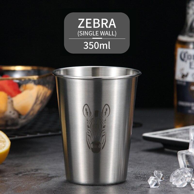 WORTHBUY пивная кружка с милым узором, 304 нержавеющая сталь, кофейная кружка с двойной стенкой, кухонная посуда для напитков для детей, пивная чашка для молока воды - Цвет: Single Wall B