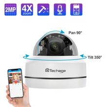 Techage 1080 1080p 4Xズームレンズptz poe ipカメラミニスピードドームオーディオ防水2MP cctvセキュリティP2P onvifビデオpoe監視