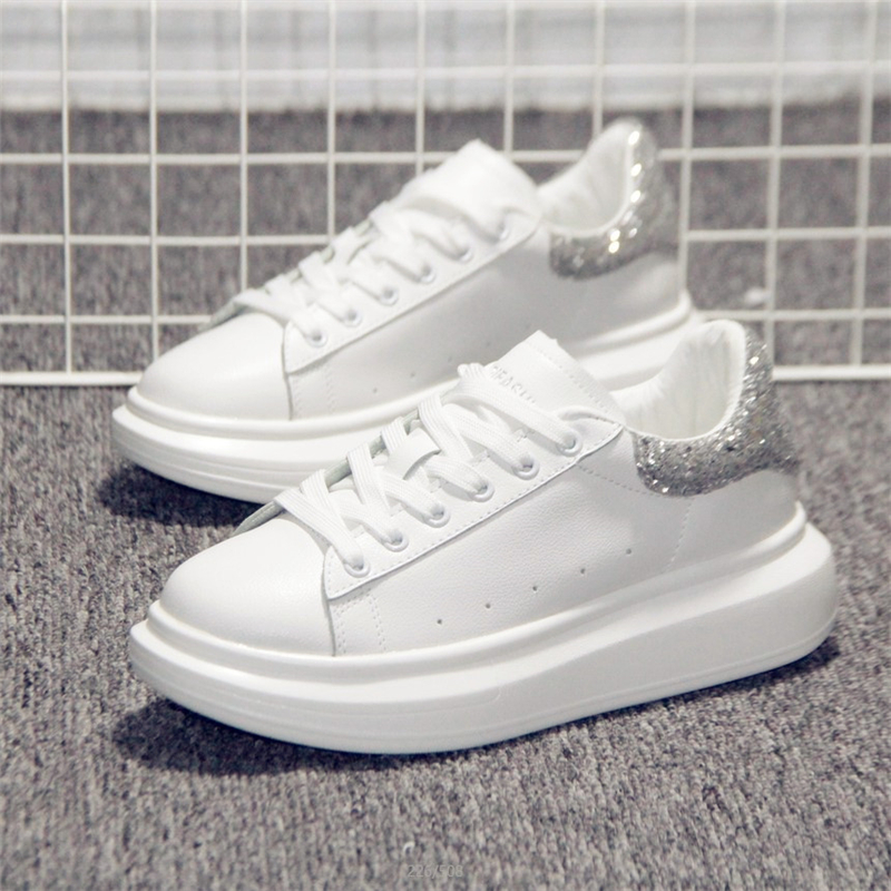 Tleni 35-40 White Sneakers Shoes Female 2019 New Spring And Summer Wild Thick Bottom Sports Shoes Sequin Women's Shoes ZD-42