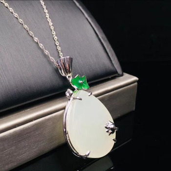 Beautiful Natural Chinese HeTian 925 Silver White Jade Inlaid Lotus Leaf Design Pendant Necklace For Women Charm Jewelry Gift