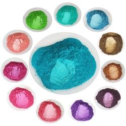 Polvo de recubrimiento de perla mica DIY Mineral Natural perlado pigmento colorante 10g por bolsa, 80 colores para sombra de ojos coches artesanía