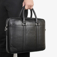 New Natural Cowskin Black Male Shoulder Laptop Bag 100% Genuine Leather Men's Briefcase Fashion Large Capacity Business Bag