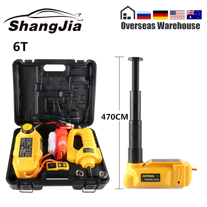 AUTOOL 6T Car Hydraulic Jack Floor Lift Electric Impact Wrench 12V 47CM Vehicle Repair Lifting Emergency European 7 Days Deliver