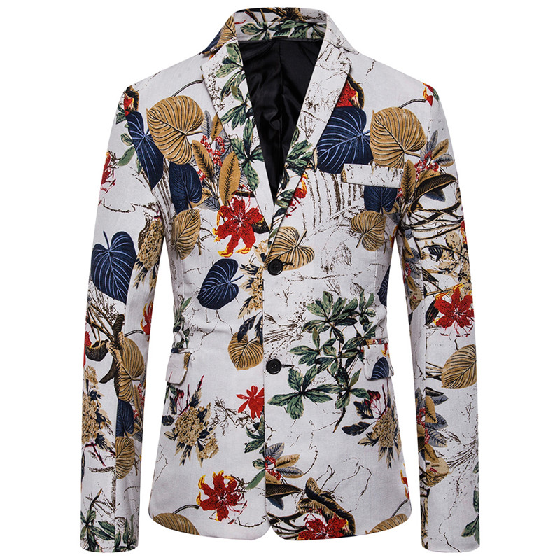 Blazer Fashion Autumn Plant Print Slim Urban Casual Mens Banquet Suit Jacket Large Size M-4XL High Quality