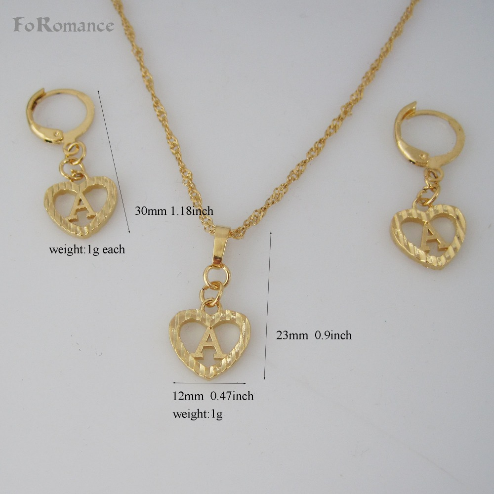 FoRomance- HIGH QUALITY GOLD GP OVERLAY 26 LETTERS FROM A TO Z HEART LINE CARVED PENDANT 18″ WATER WAVE NECKLACE EARRING SET