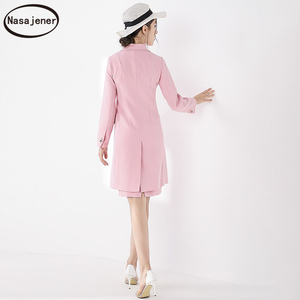 Image 2 - 2019 New Autumn Elegant  Celebrity Temperament Slim Cotton  Button Long Sleeve Temperament Trench Coat