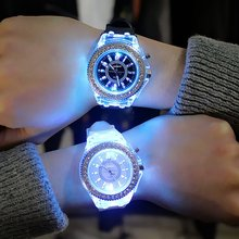 Couples Luminous Silicone Jelly Quartz Watch Personalized Diamond Led Rhinestone