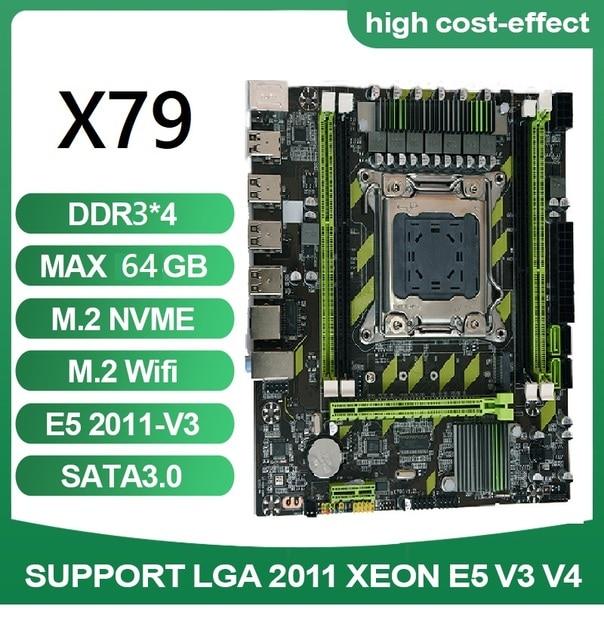 X79G X79 Motherboard LGA 2011 USB2.0 SATA3 Support REG ECC Memory And Xeon E5 CPU 4pcsx4GB=16GB Processor 4DDR3  PCI-E NVME M.2 1