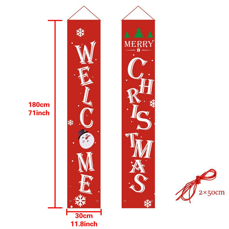 New-Merry Christmas Banner Christmas Porch Fireplace Wall Signs Flag For Christmas Decorations Outdoor Indoor For Home Party