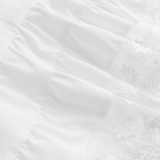 Vestido de retazos de encaje ZANZEA 2020 elegante vestido de verano para mujer manga acampanada Midi Vestidos Mujer Casual blanco bata estilo camisa Mujer