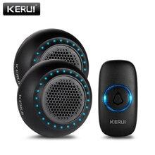 Беспроводной дверной звонок KERUI M523, комплект, водонепроницаемая сенсорная кнопка, 32 песни, Красочный Светодиодный светильник для домашней безопасности, умный звонок, дверной звонок, сигнализация