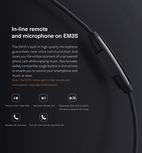 Image 5 - FiiO EM3S / EM3K Dynamic Drives Earphone with Mic or without mic 3.5mm plug for HUAWEI/XIAOMI/iPhone for ipod mp3 mp4 etc.