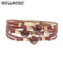 WELLMORE new glass leather bracelet Luxury charm bracelets f