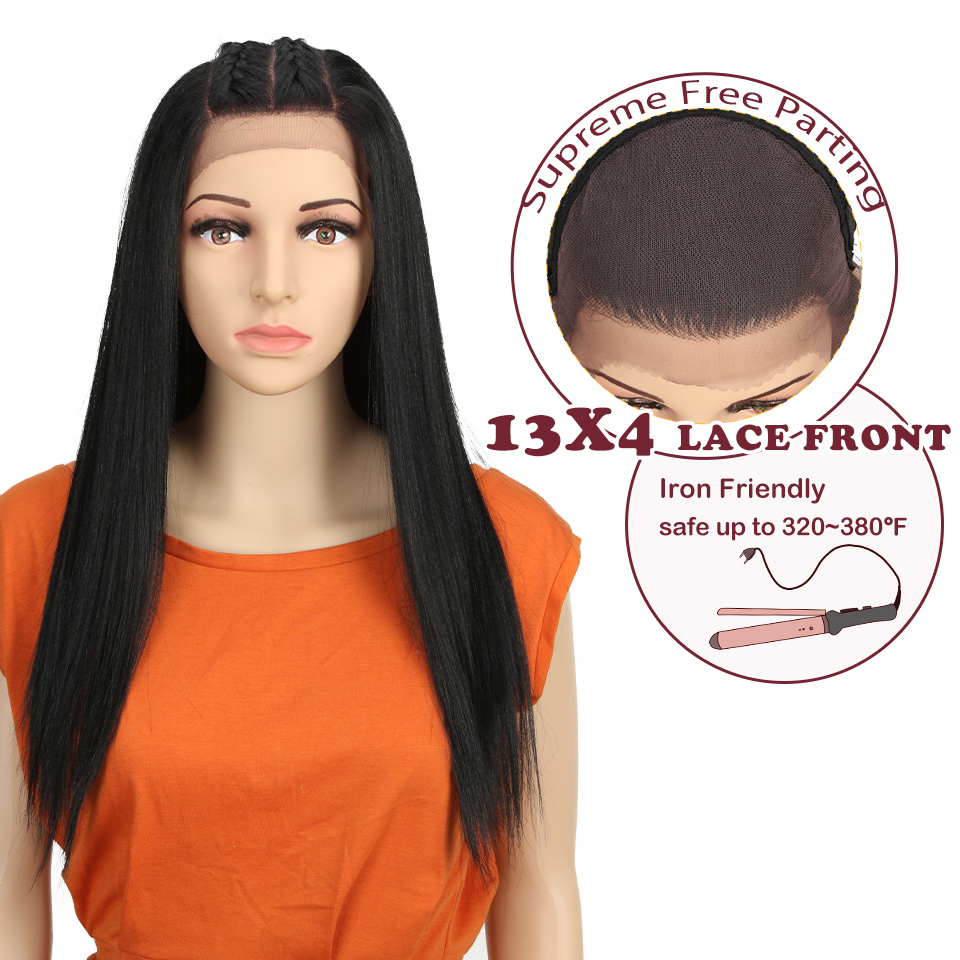 """Magic 24""""Inch 13X4 Straight Synthetic Lace Front Wig For Black Women Ombre Multicolor Lace Front Wig Synthetic Hair Cosplay Hair"""