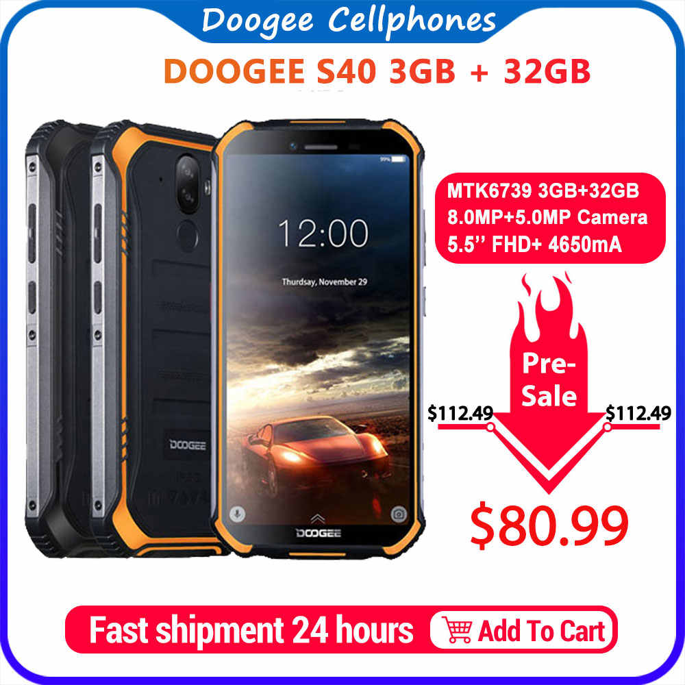 Aggiornamento 3GB + 32GB DOOGEE S40 MTK6739 Quad Core Android 9.0 4G Rete Robusto Telefono Cellulare IP68 display da 5.5 pollici 4650mAh 8.0MP NFC