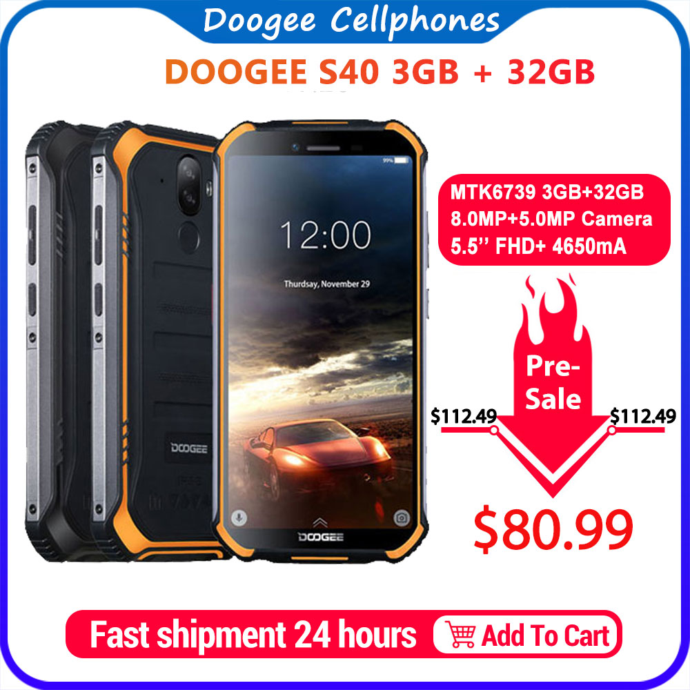 Upgrade 3GB+32GB DOOGEE S40 <font><b>MTK6739</b></font> Quad Core Android 9.0 4G Network Rugged Mobile Phone IP68 5.5inch Display 4650mAh 8.0MP NFC image