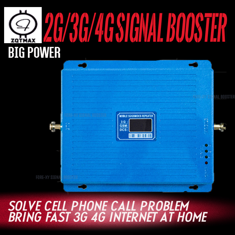 ZQTMAX <font><b>2G</b></font> <font><b>3G</b></font> <font><b>4G</b></font> mobile phone signal booster <font><b>gsm</b></font> dcs repeater UMTS LTE Cellular Signal Amplifier <font><b>75dB</b></font> 900 1800 2100 image