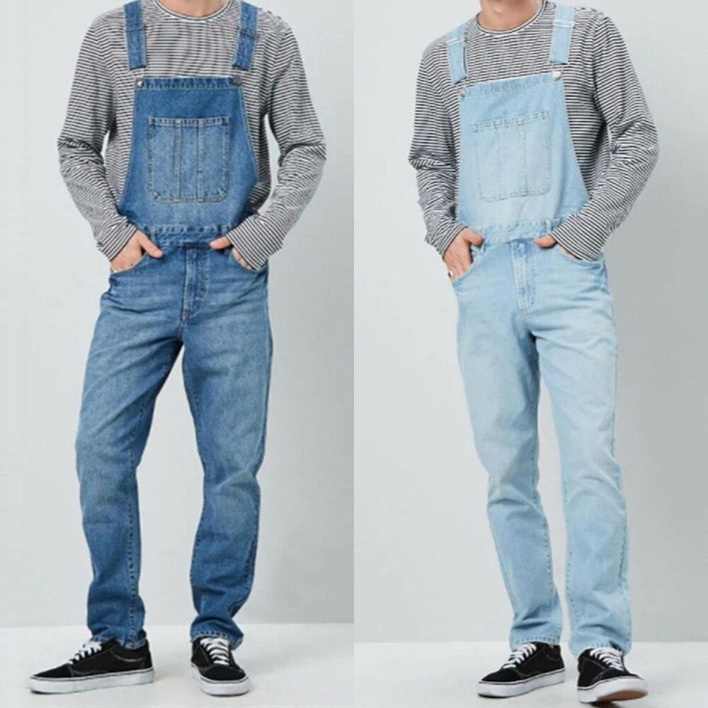 New Fashion Men's Jeans Overalls High Street Straight Denim Jumpsuits Hip Hop Men Cargo Bib Pants Cowboy Male Jean Dungarees D25