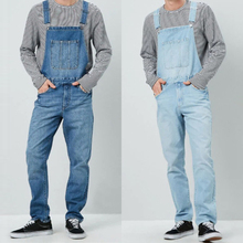 Male Jean Jumpsuits Overalls Cargo-Bib-Pants Dungarees Cowboy Straight Denim Hip-Hop