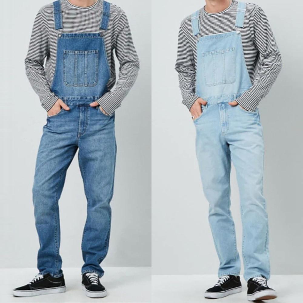 Moda para Homens Macacão Masculino Estilo Cargo Jeans Reto Alta Hip Hop Cowboy Dungarees D25