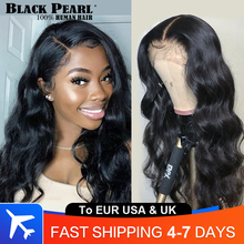 Wig 360 Human-Hair-Wigs Lace Closure Pearl Body-Wave Lace-Front Black Pre-Plucked Brazilian