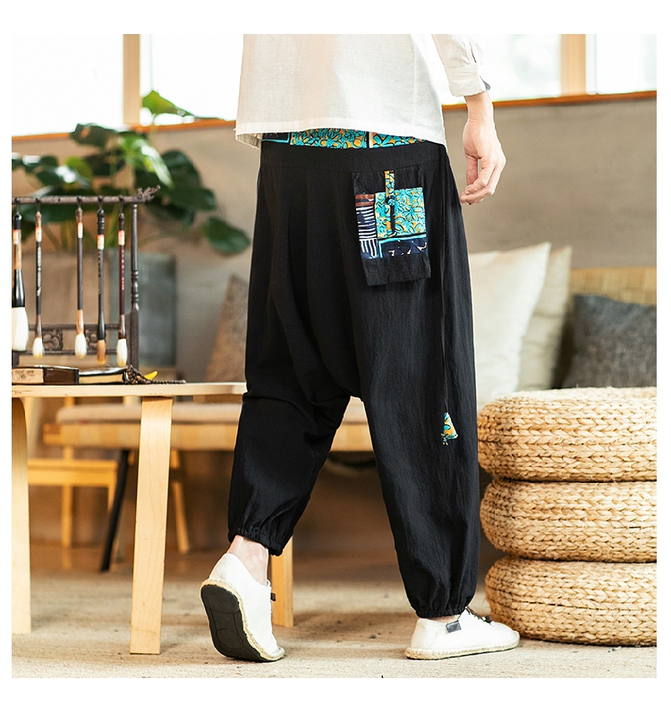 Sinicism Store Chinese Cross-Pants Men 2020 Autumn Oversize Fashion Mens Patchwork Button Pants Male Wide-legged Loose Pants 50