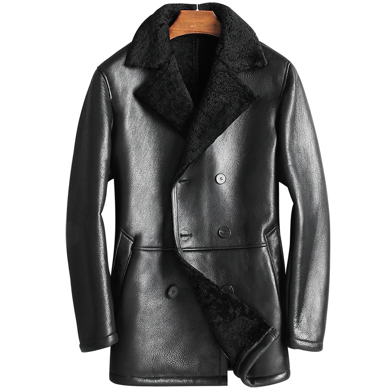 Genuine Leather Jacket Men's Winter Jacket Natural Wool Fur Liner Coat Male Real Sheepskin Warm Jackets Chaqueta BC812 MY1663